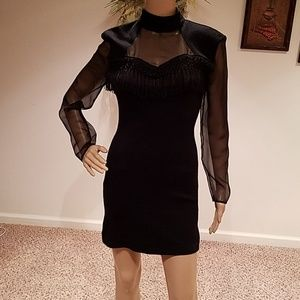 Dresses & Skirts - Vintage Black fringed cocktail mini dress